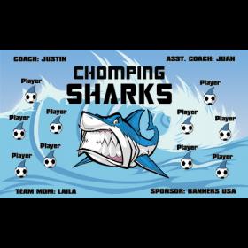 Sharks Chomping Fabric Soccer Banner - E-Z Order