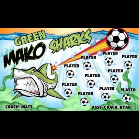 Sharks Makos Green Fabric Soccer Banner E-Z Order