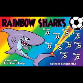Sharks Rainbow Fabric Soccer Banner - E-Z Order