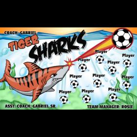 Sharks Tiger Fabric Soccer Banner - E-Z Order
