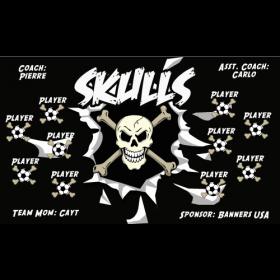 Skulls Fabric Soccer Banner - E-Z Order