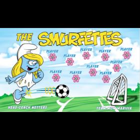 Smurfettes Fabric Soccer Banner - E-Z Order