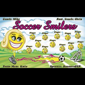 Soccer Smilers Vinyl Soccer Banner - E-Z Order