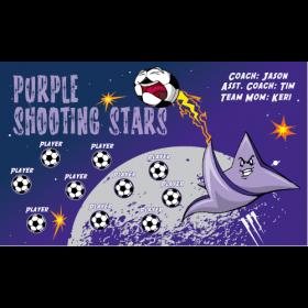 Stars Shooting Purple Vinyl Soccer Banner - E-Z Order