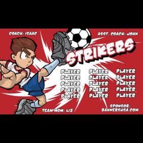 Strikers Fabric Soccer Banner E-Z Order