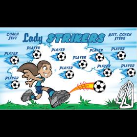 Strikers Lady Vinyl Soccer Banner - E-Z Order