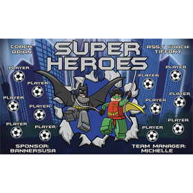 Super Heroes Vinyl Soccer Banner - E-Z Order