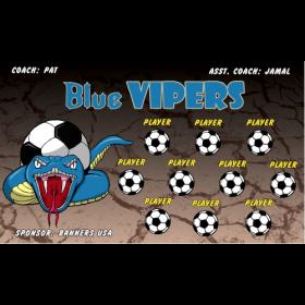 Vipers Blue Vinyl Soccer Banner - E-Z Order
