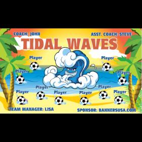 Waves Tidal Fabric Soccer Banner - E-Z Order