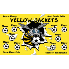 Yellow Jackets Fabric Soccer Banner - E-Z Order