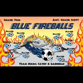 Fireballs Blue Fabric Soccer Banner - E-Z Order
