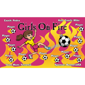 Girls on Fire Fabric Soccer Banner Live Designer