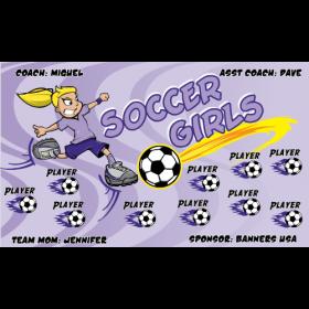 Girls Soccer Little Fabric Soccer Banner - Live Designer