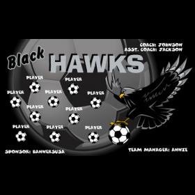 Hawks Black Fabric Soccer Banner - E-Z Order