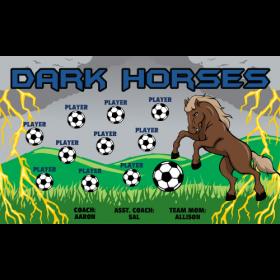 Horses Dark Fabric Soccer Banner - Live Designer