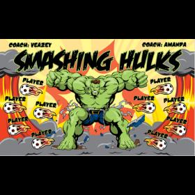 Hulks Smashing Fabric Soccer Banner - Live Designer