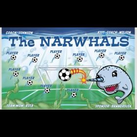Narwhals Fabric Soccer Banner - Live Designer