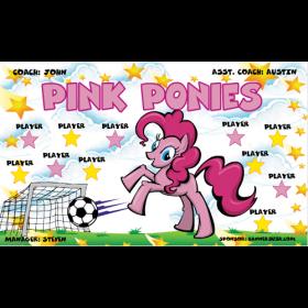 Ponies Pink Fabric Soccer Banner - Live Designer