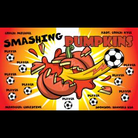 Pumpkin Smash Fabric Soccer Banner - Live Designer