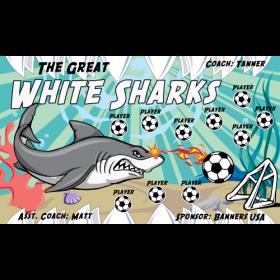 Sharks Great White Fabric Soccer Banner - Live Designer