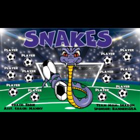 Snakes Fabric Soccer Banner - Live Designer
