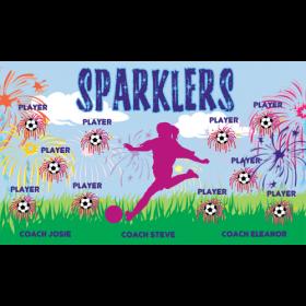 Sparklers Fabric Soccer Banner Live Designer