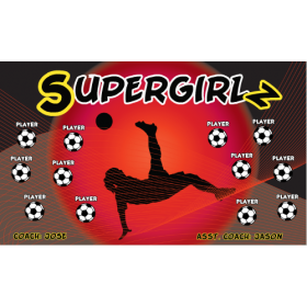 Supergirlz Fabric Soccer Banner - Live Designer