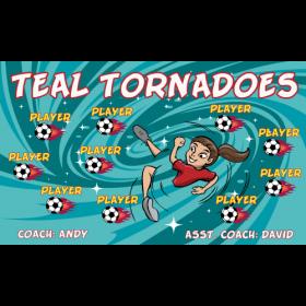 Tornadoes Teal Fabric Soccer Banner Live Designer